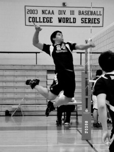 Shane Kiefer | The Bucknellian King Gorospe '15 prepares to spike the ball in one of the club volleyball team's opening matches.