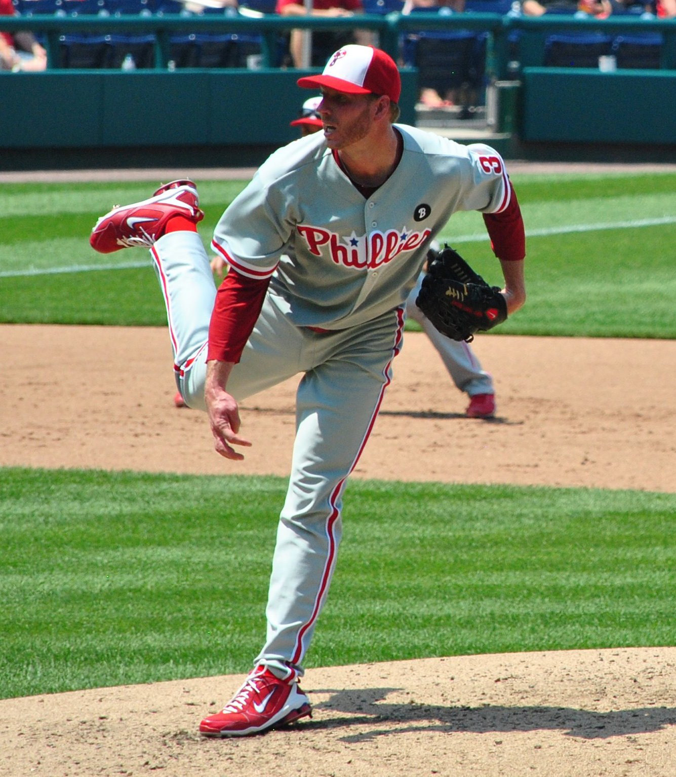 Courtesy of Wikimedia Commons Roy Halladay fires from the mound. A resurgent year from Halladay could do wonders for an aging Phillies team.