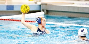 Edward Louie | The Bucknellian Barbara Peterson '15 winds up for a shot on goal. The women's water polo team finished with three wins.