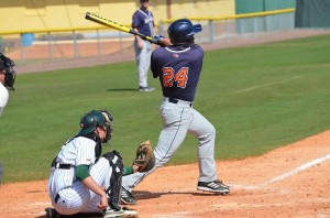 Matt Busch '13 follows through with his swing. The Bison were 1-3 against Patriot League rival Holy Cross.