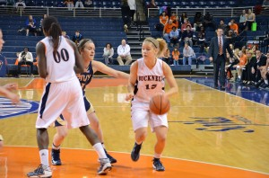 Heather Oros   The Bucknellian Shelby Romine '14 drives to the lane in the women's basketball team's 55-48 upset win over Navy on Senior Night.