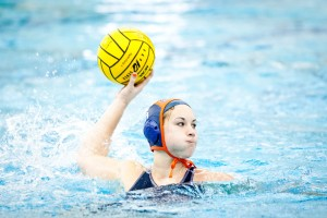 Raffi Berberian | The Bucknellian Mackenzie Ferry '14 takes a shot this past weekend for the women's water polo team. She scored one goal in the Bison's close loss to Harvard.